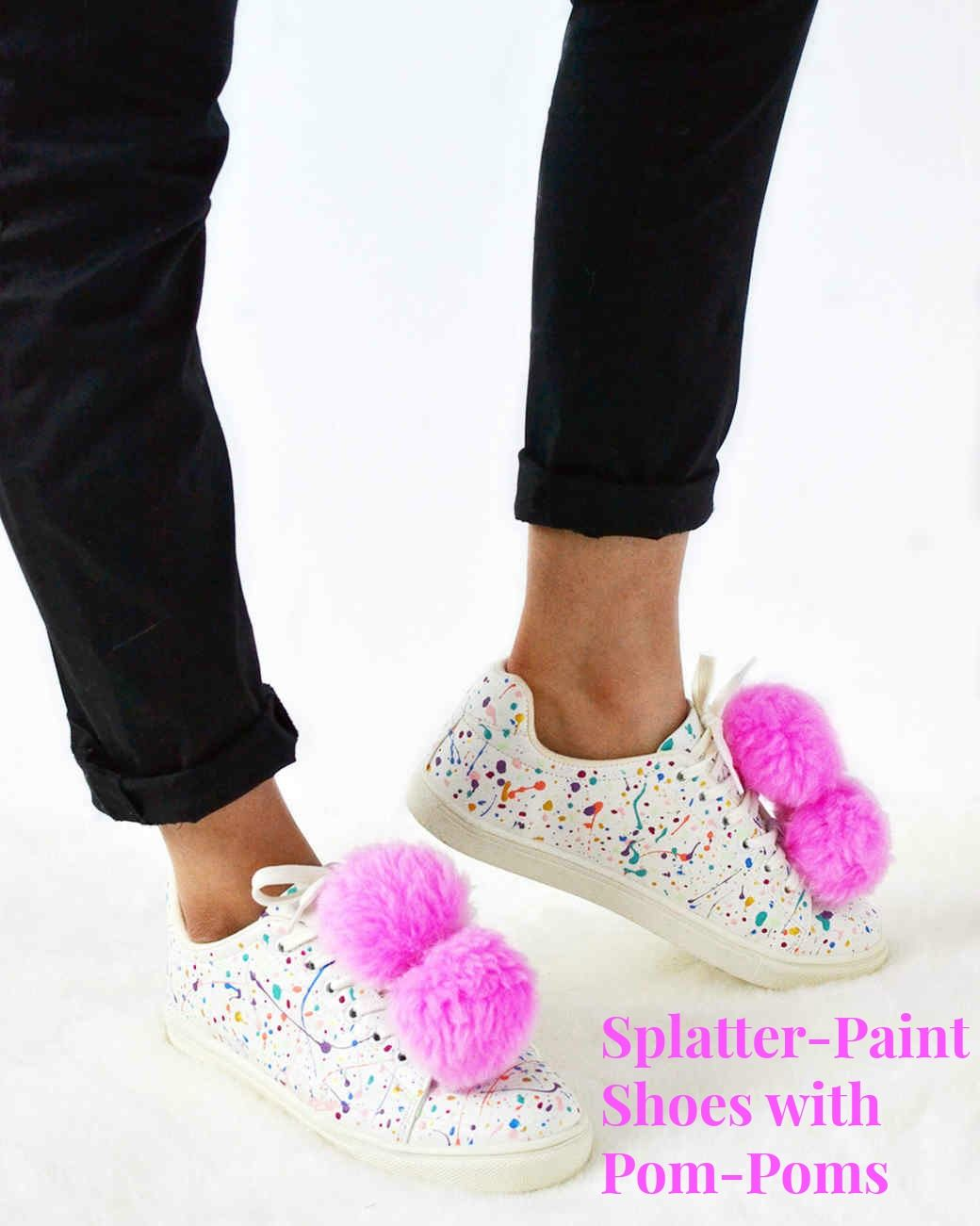 Splatter-Paint Shoes with Pom-Poms