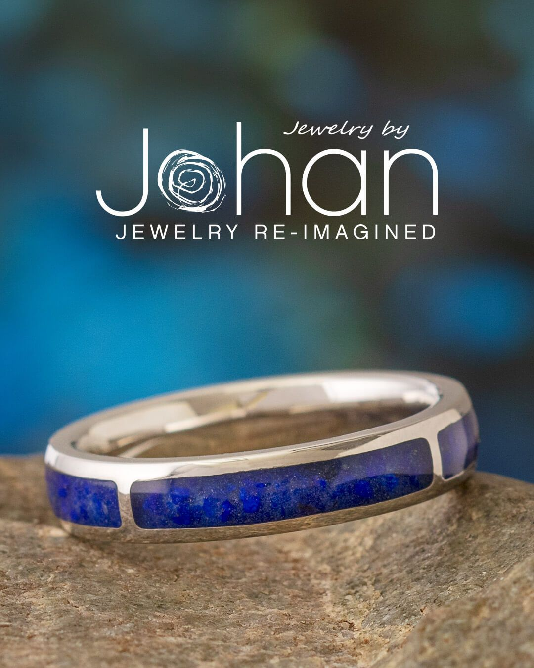 Jewelry by Johan's handmade rings have unique inlays, like this lapis lazuli #weddingband in platinum. #JewelrybyJohan