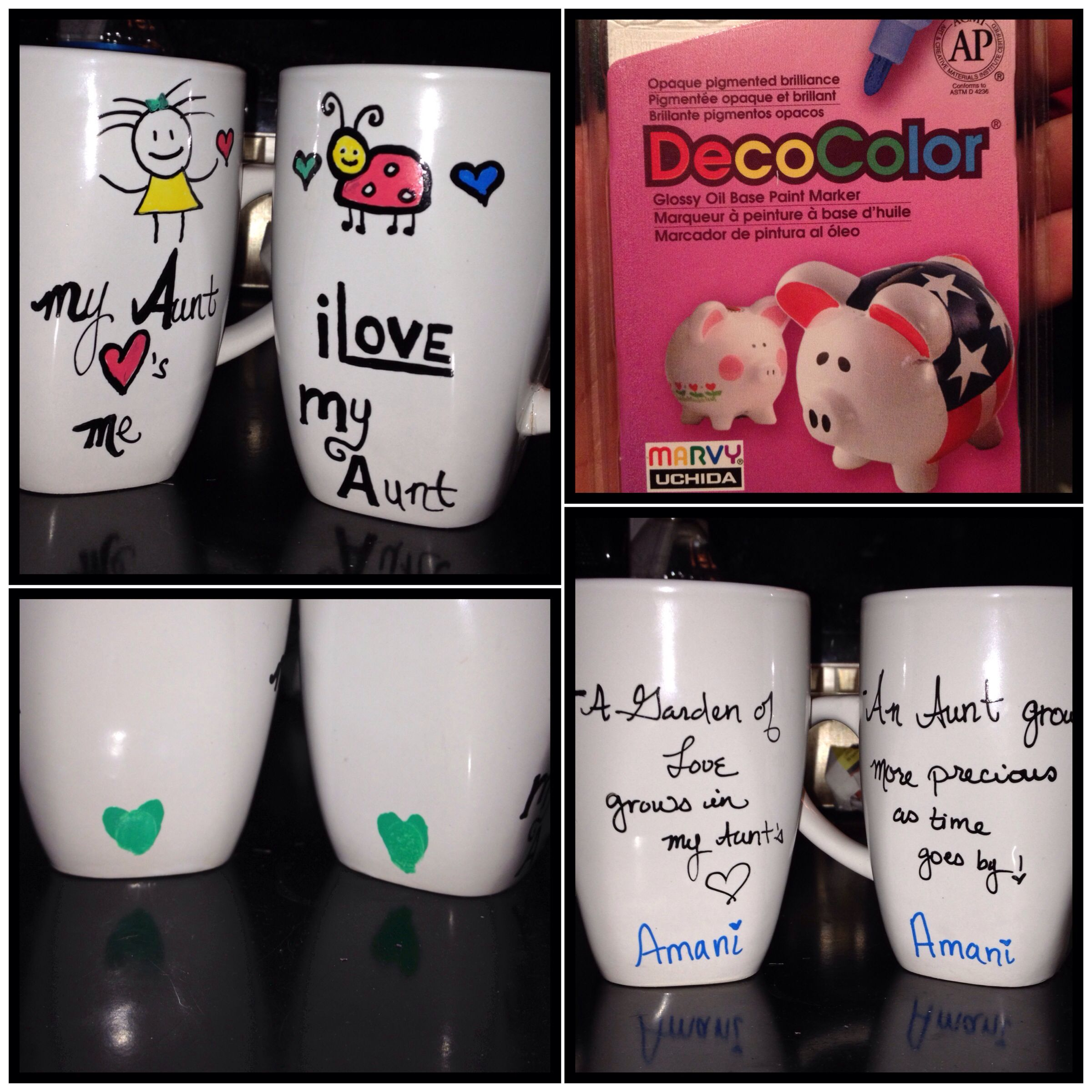 """DIY MUGS"" THINGS YOU'LL NEED  1. A porcelain mug or any choice of dish ware. 2. DecoColor oil based marker or Porcelain 150 pens.  3. Oven    STEPS  1.Draw desired the image with marker  2. Let dry for 1 hour  3. Heat oven to 300 degrees F. Bake for 30 minutes, then let them cool. Once cooled, the design should be permanently fixed to your desired dish ware.    This is a very easy project! A great DIY gift for any occasion! Hope you enjoy making them. -SOBI"
