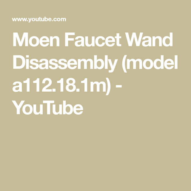 moen faucet wand disassembly model