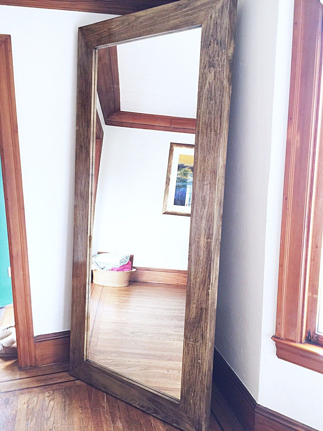 X-Large Wooden Frame Floor Mirror by SilverStems on Etsy https://www ...