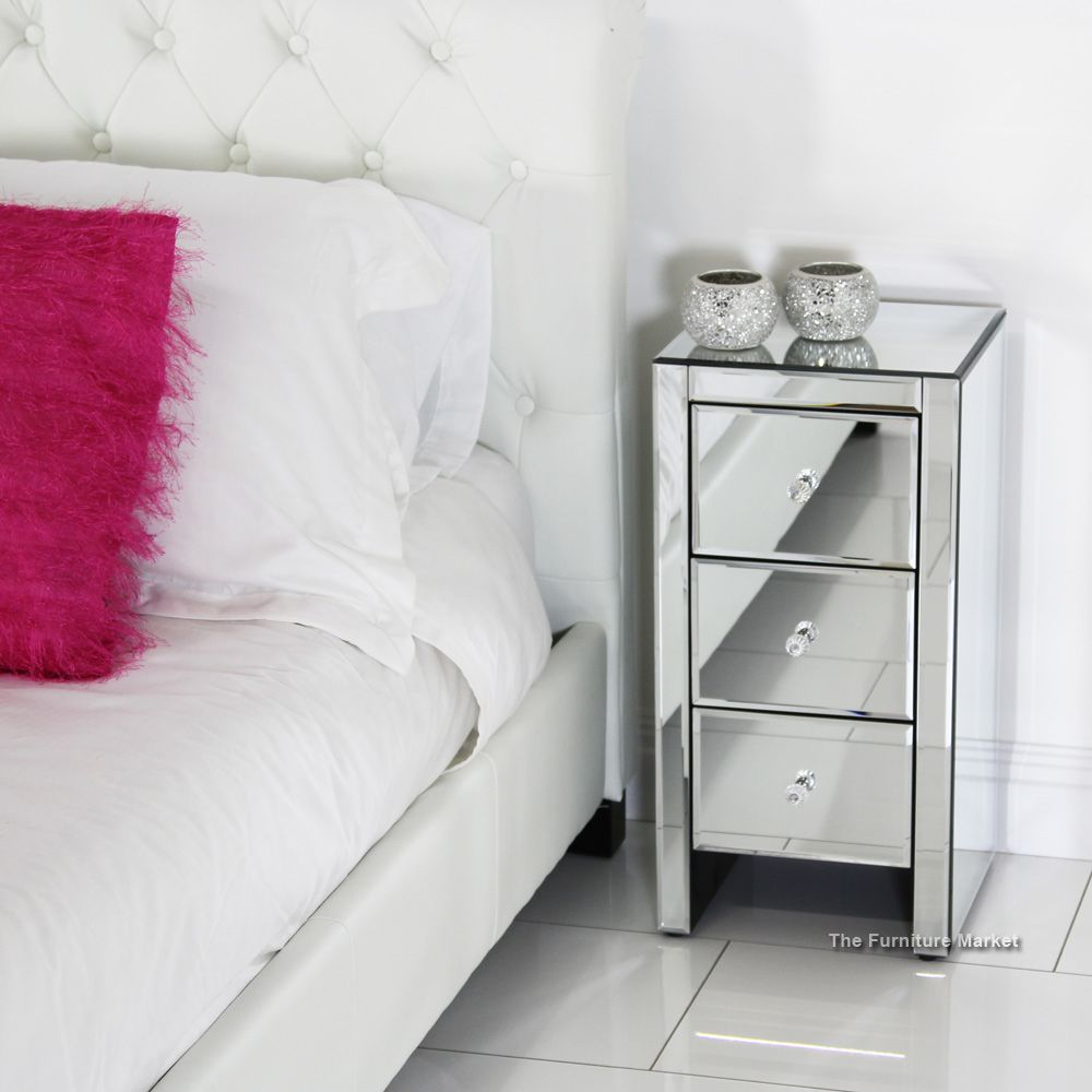 venetian mirrored 3 drawer slim narrow bedside   ideas for the