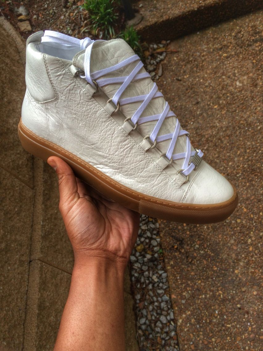 1fc0a9a572491 White Balenciaga Arena with Gum Bottom -New Cop   Shoes. (Need ...