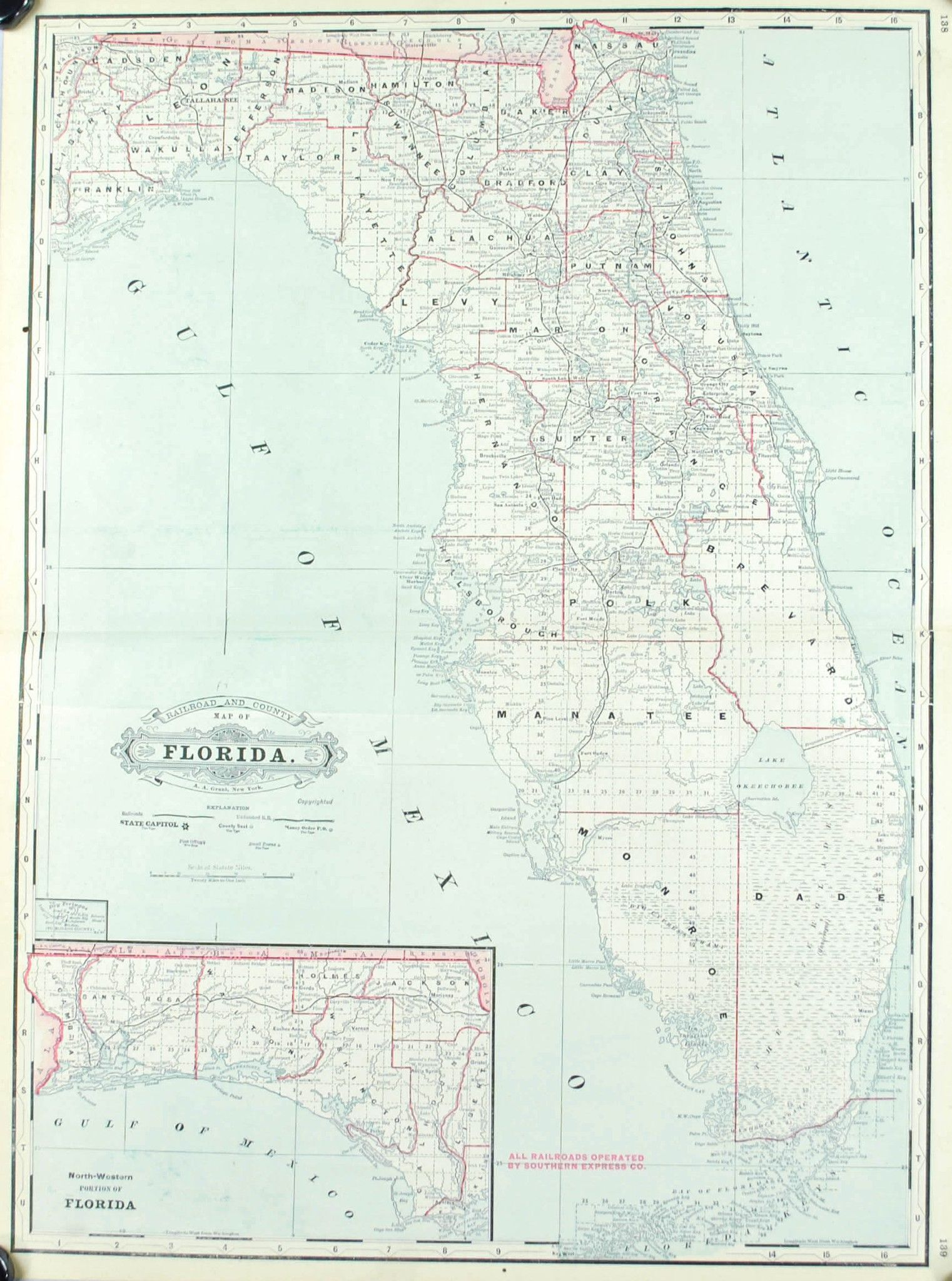 1887 Railroad and County Map of Florida Railroads