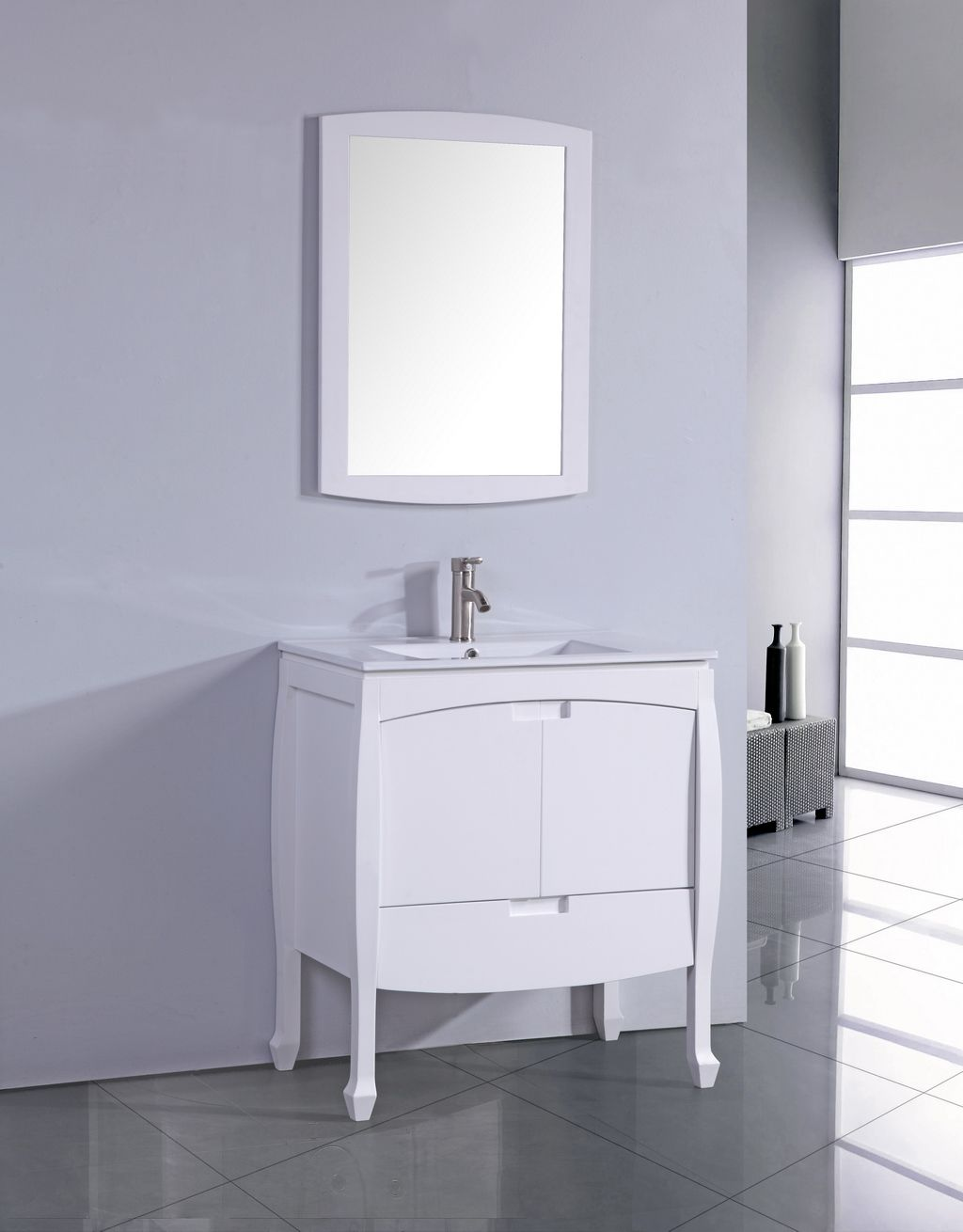 Legion 24 inch Contemporary Single Sink Bathroom Vanity, White ...