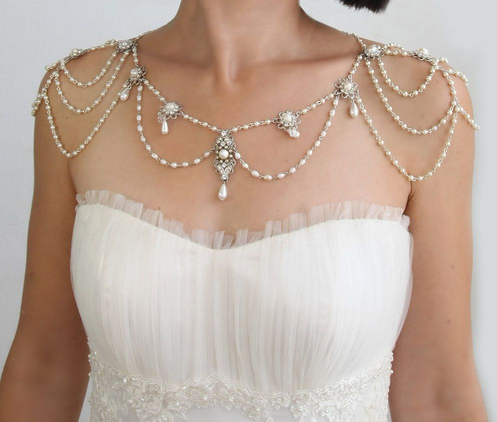 Necklace for the shouldersbackdrop necklacepearlsrhinestone