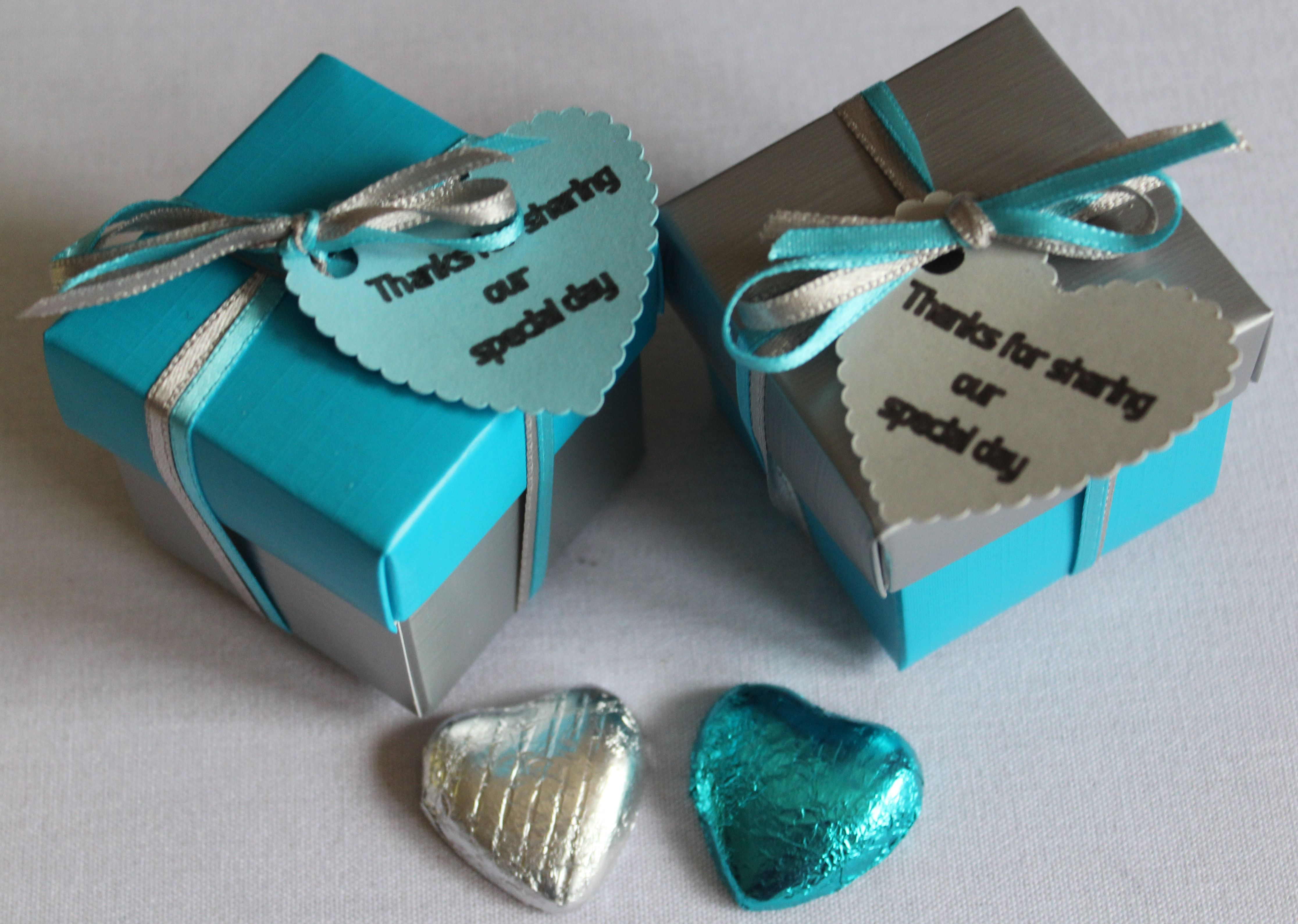 Turquoise And Silver Wedding Favour Boxes With Silver And Turquoise