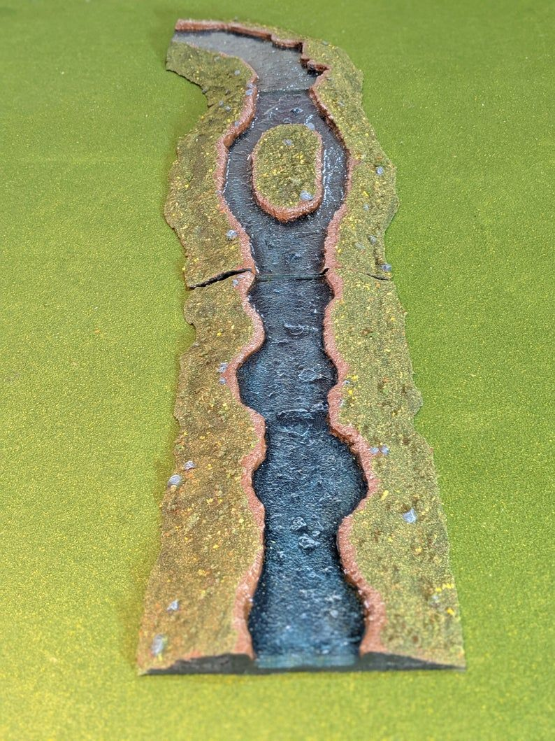 River Section (Modular) - Wargaming terrain, miniature scenery, fully painted and based, epoxy river