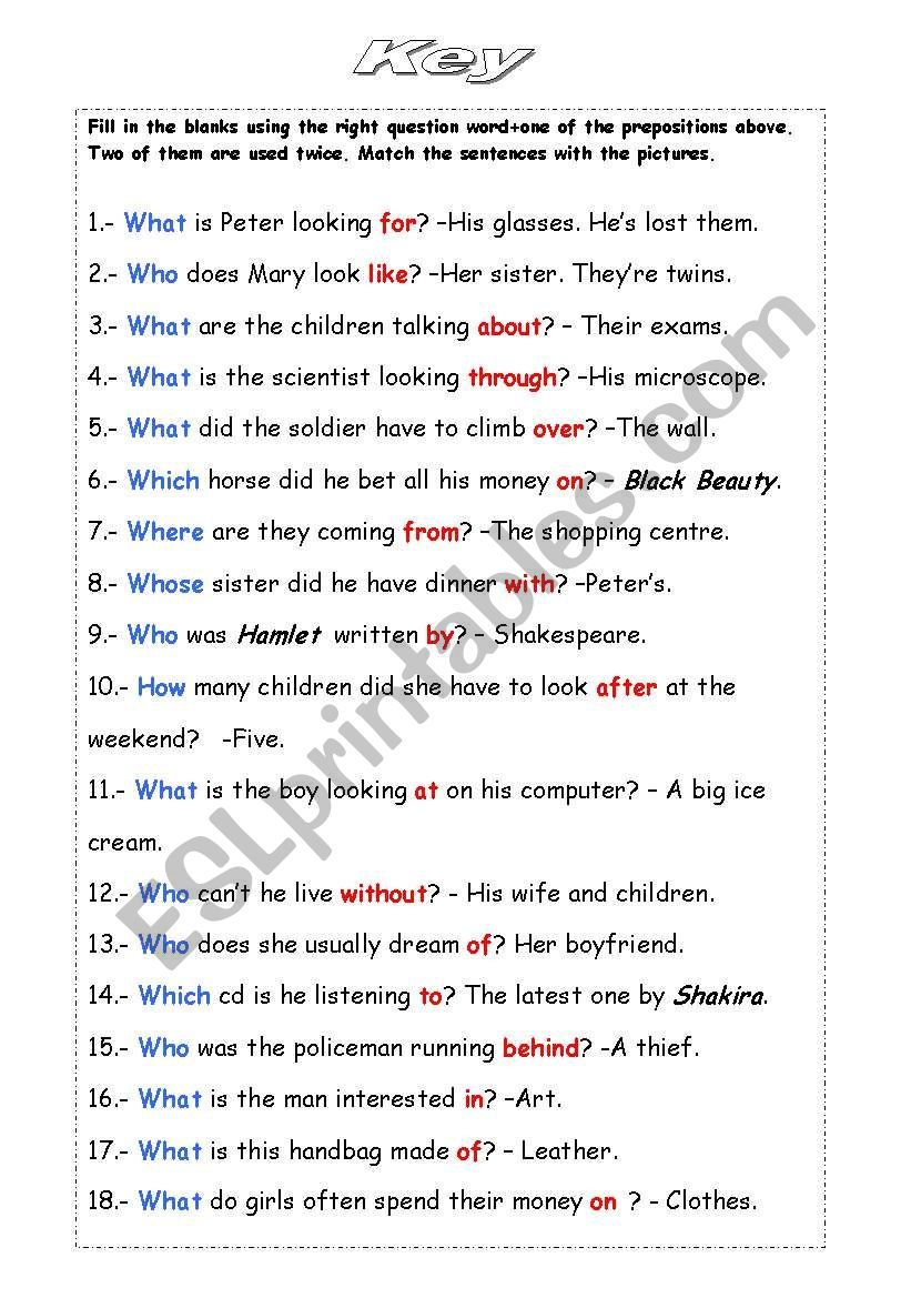 Wh Questions With Prepositions B W Version Key Included Grammar Worksheets Preposition Worksheets Free Grammar Worksheet Grammar worksheets answer key