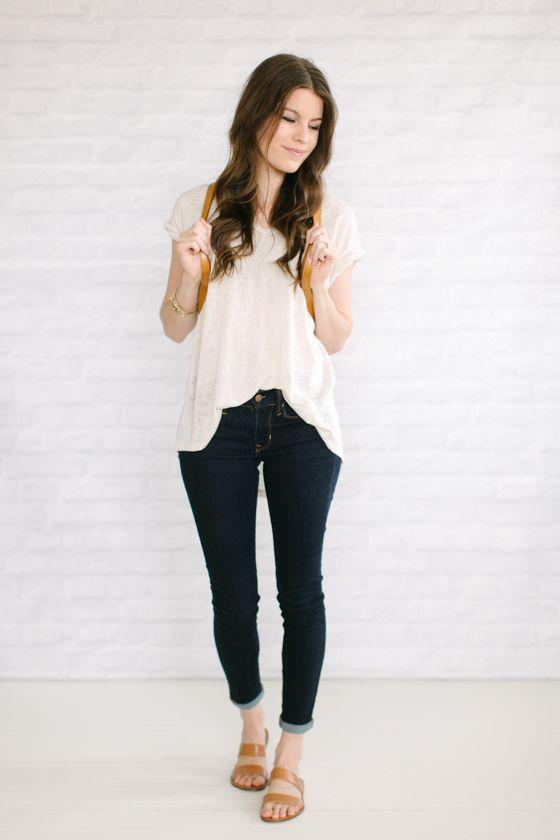 Skinny Jeans Flowy Top Moda Fashion Flowy Tops Outfits