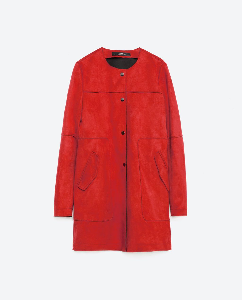 c5edd3a3 Image 8 of RED SUEDE EFFECT COAT from Zara | JACKET