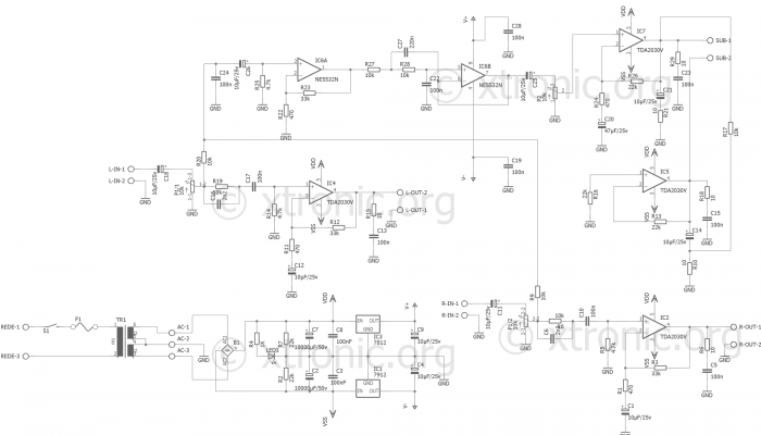 power amplifier with subwoofer \u2013 tda2030 and ne5532 \u2013 2 x 18 watts