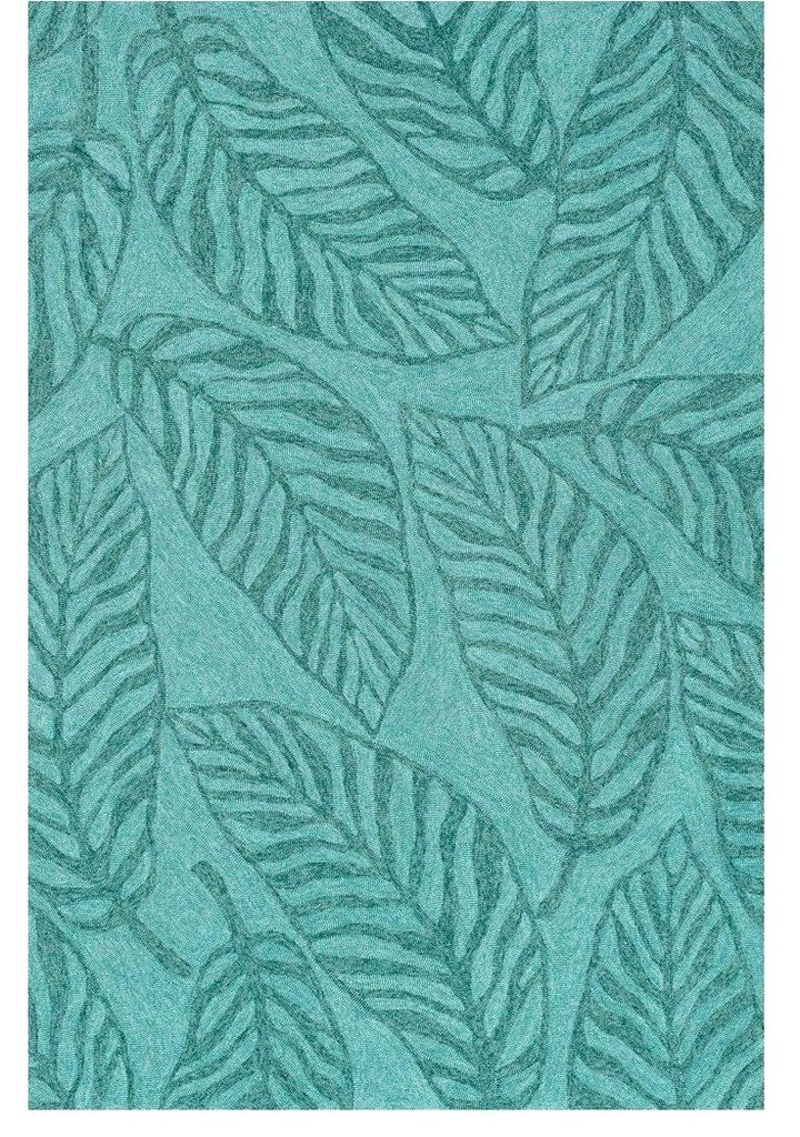 Tropical Banana Leaf Turquoise Outdoor Rug