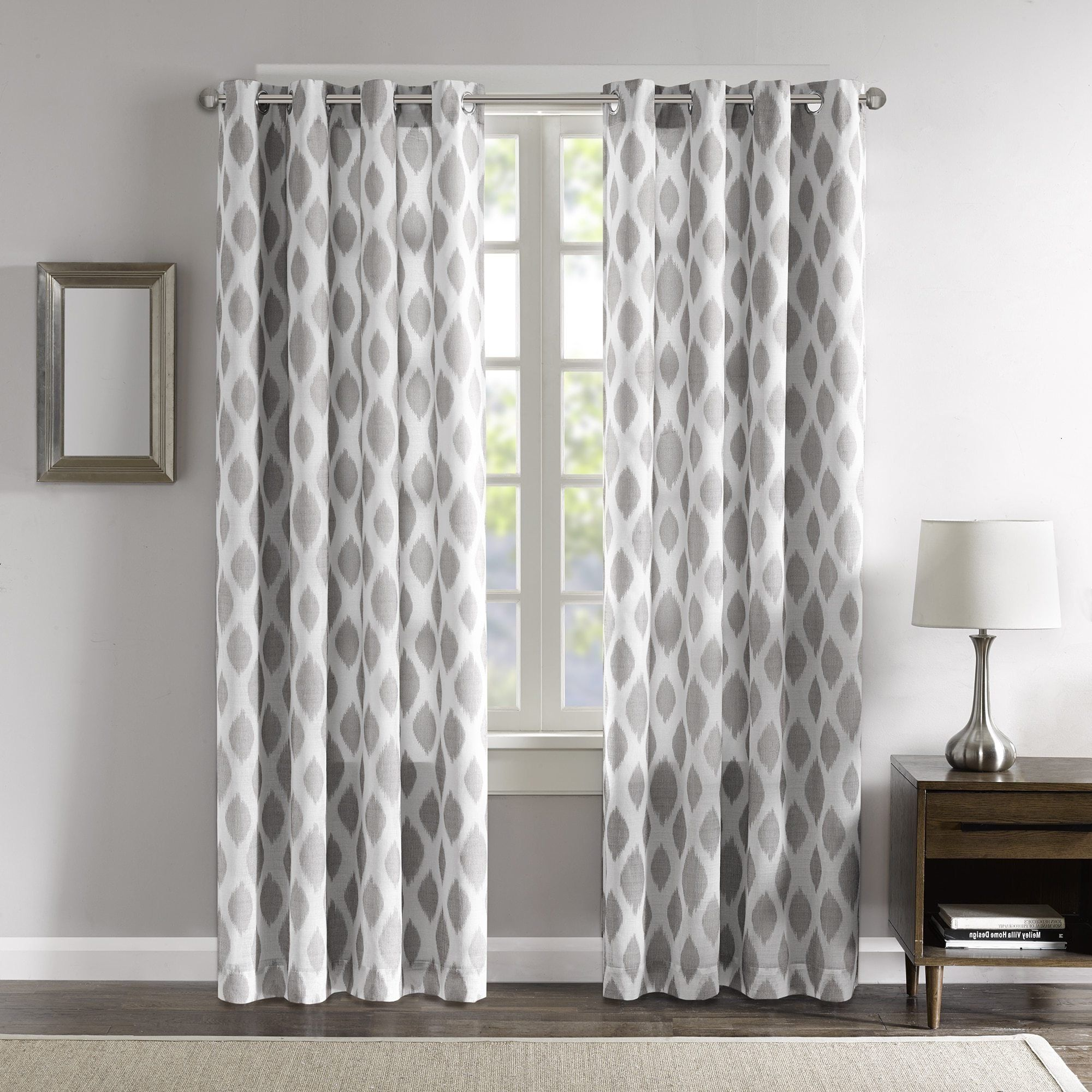 Dh 1 Piece 84 Inch Silver Grey White Ikat Curtain Panel Light Grey Color Drapes Jacquard Pattern Window Treat Panel Curtains Ikat Curtains Curtains Living Room