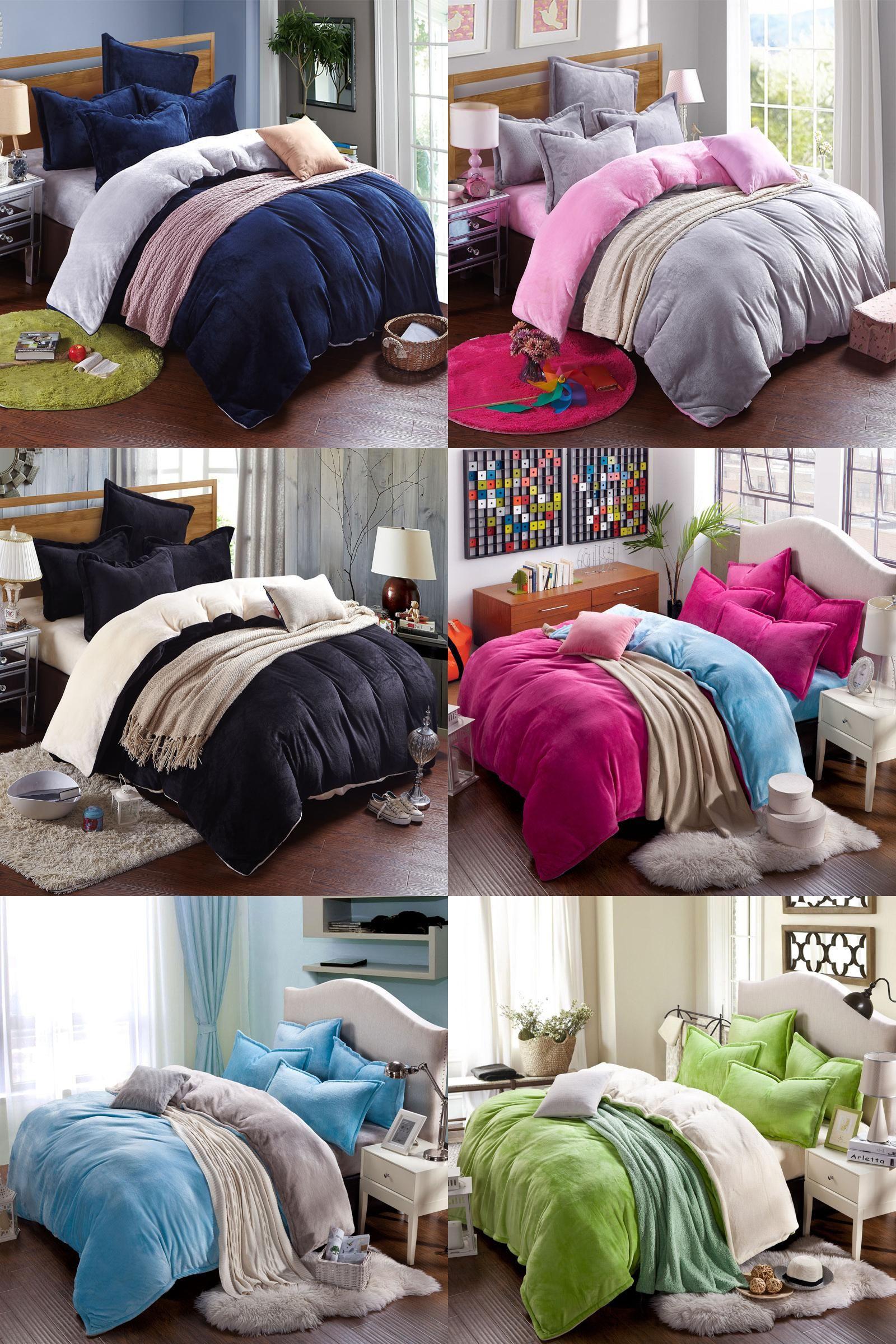 visit to buy winter fleece bedding set ab side duvet cover flannel