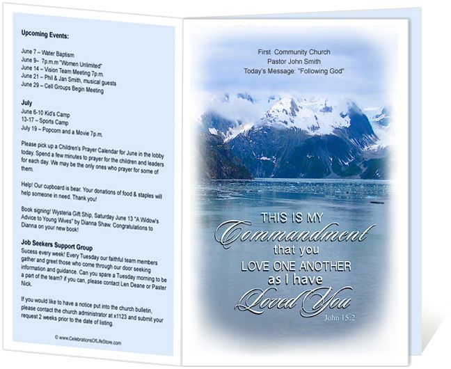 Church Bulletins  Snowy Love One Another Commandment Church