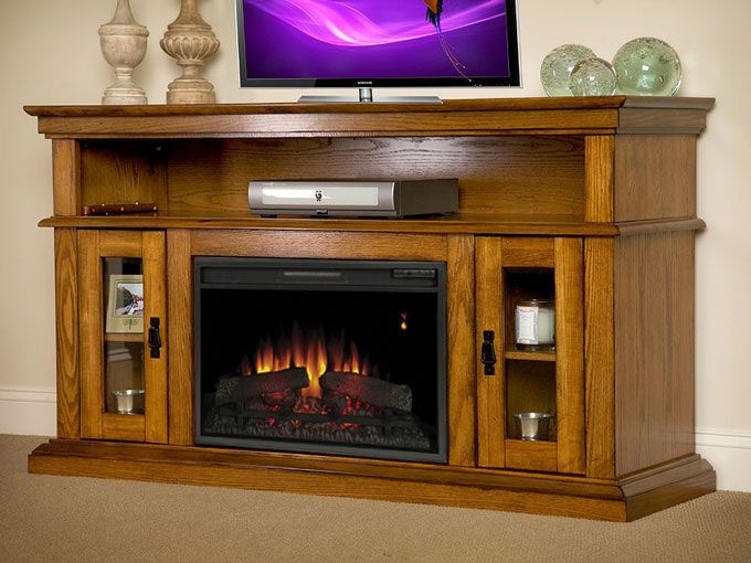 brookfield 26 premium oak media console electric fireplace