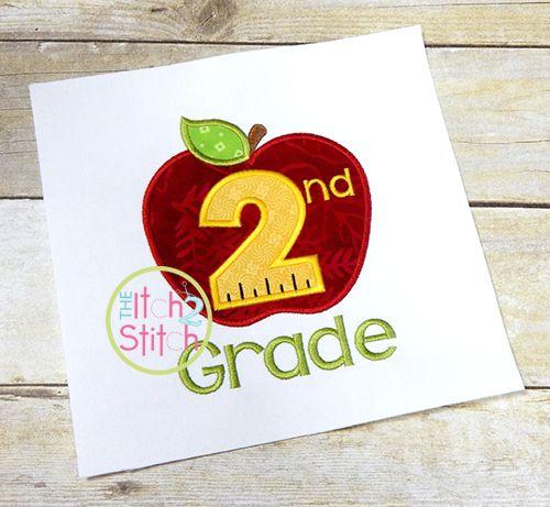 Apple School 2nd Grade Number Applique School Designs