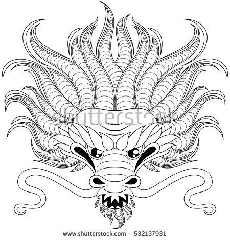 Head of chinese dragon in zentangle style for tatoo. Adult ...