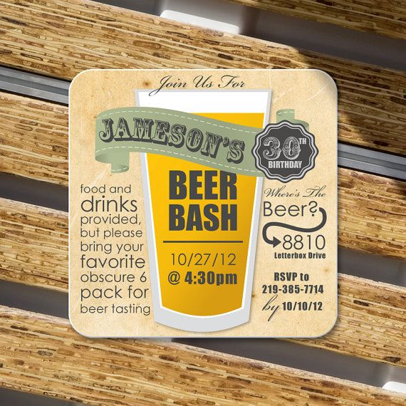 Birthday Party invitation Coasters Craft paper by Product80 085 – Beer Party Invitations