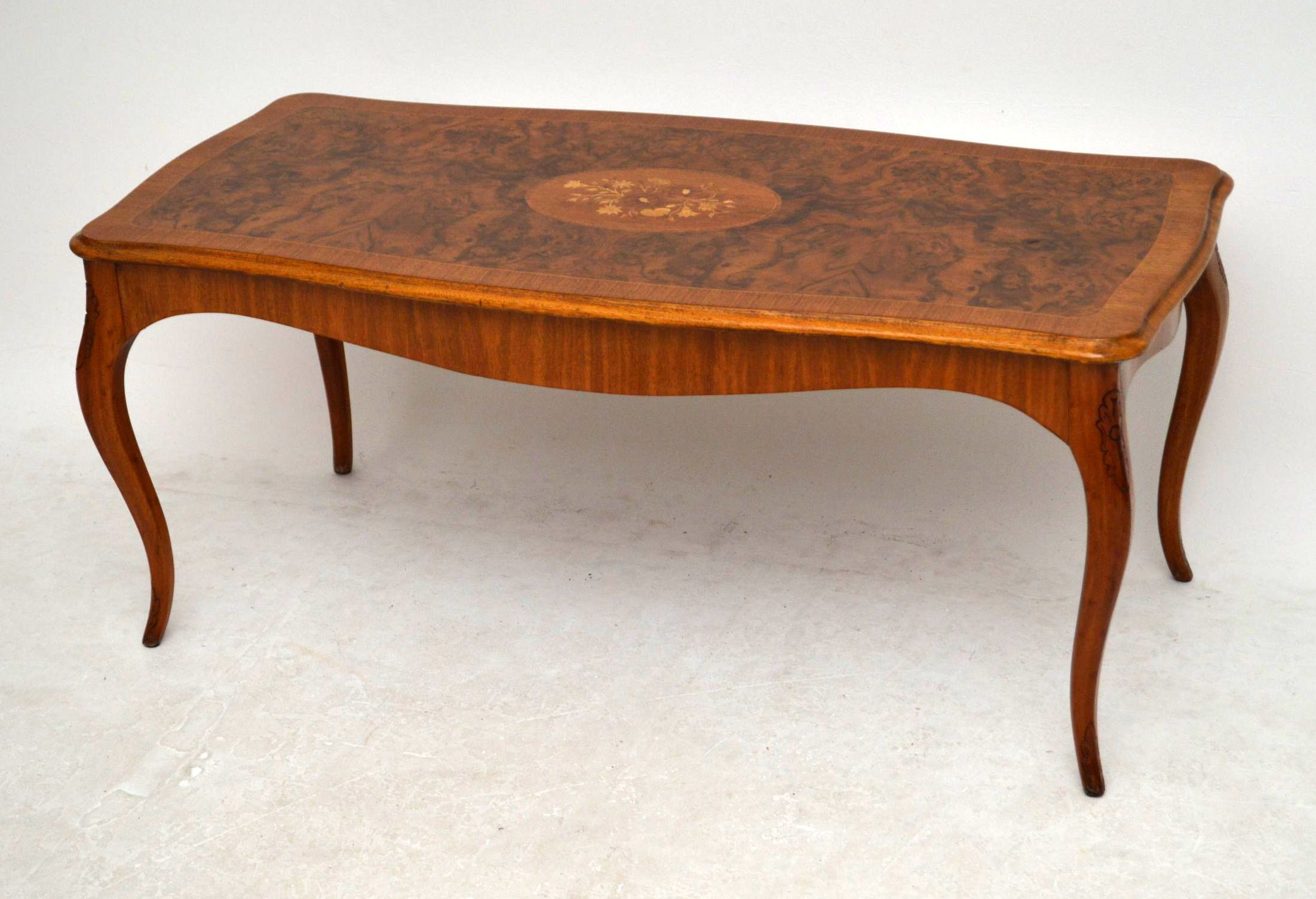 Antique French Style Inlaid Walnut Coffee Table