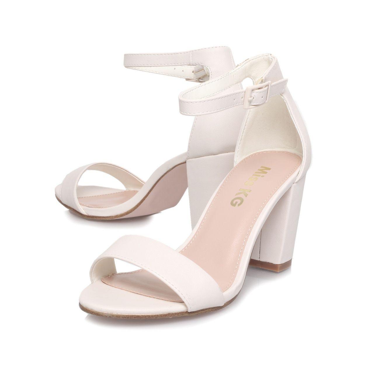 Miss KG White 'Paige' mid heel sandals