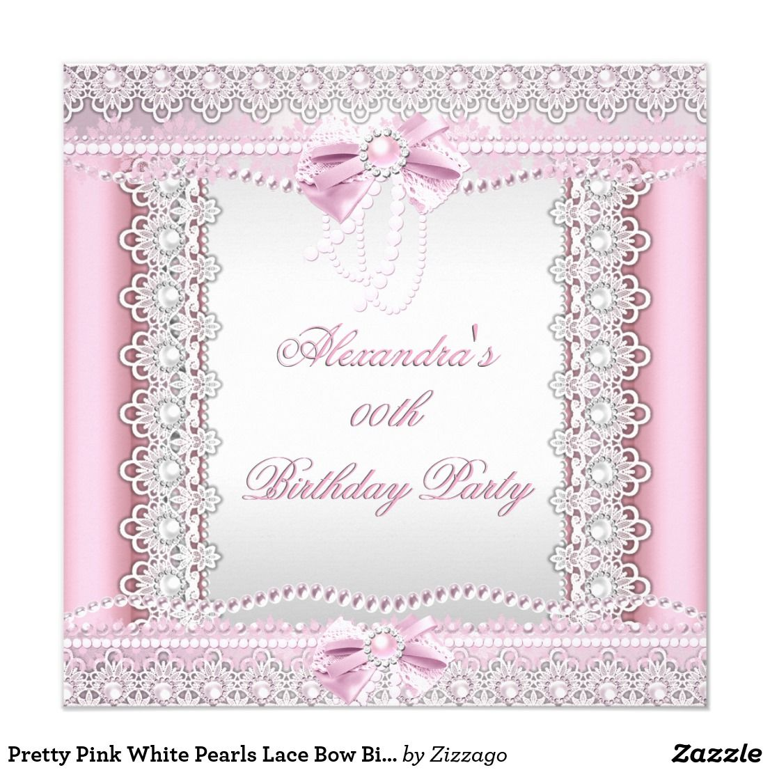 Pretty Pink White Pearls Lace Bow Birthday Party Card Pretty