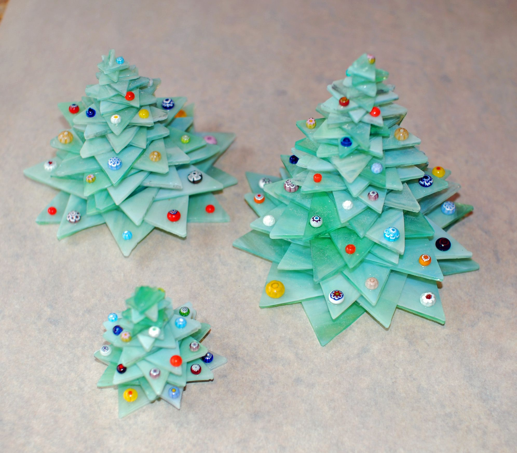 Layered Glass Christmas trees decorated with fused millefiore beads