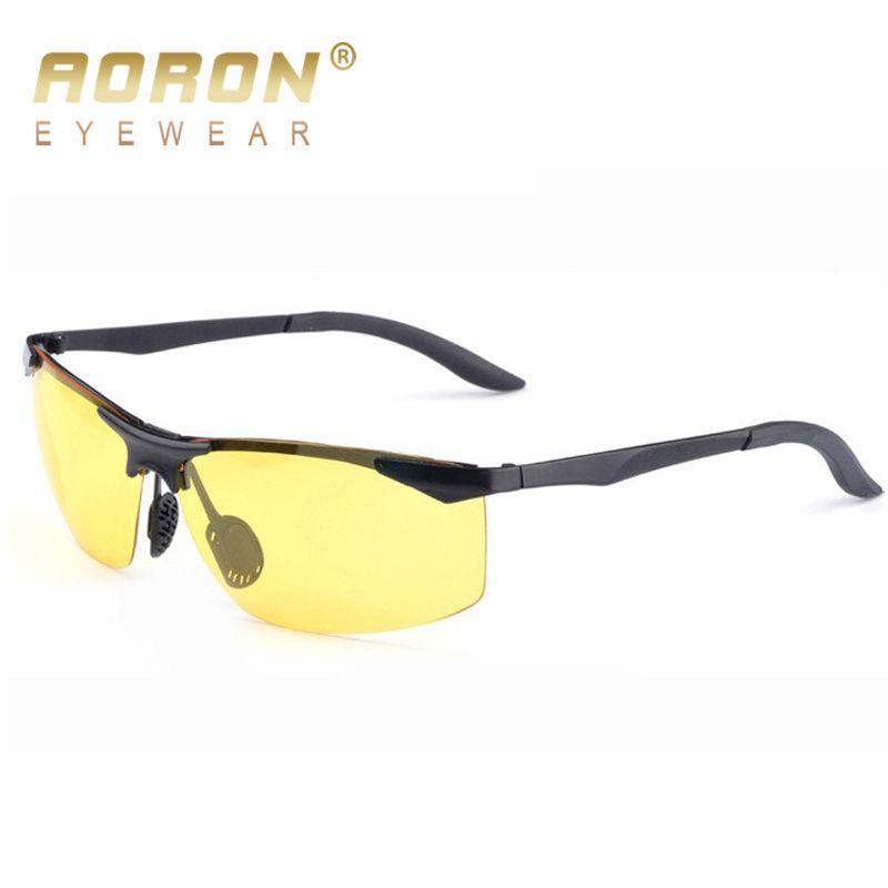 8dc7b088e5 AORON Men Polarized Night Vision Sunglasses Luxury Anti-glare Goggles Brand  Designer UV400 Yellow Lens Eyewear HD Driver Glasses