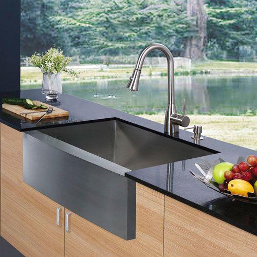 farmhouse stainless steel kitchen sink faucet and dispenser - Corian Countertops Bauernhaus Waschbecken