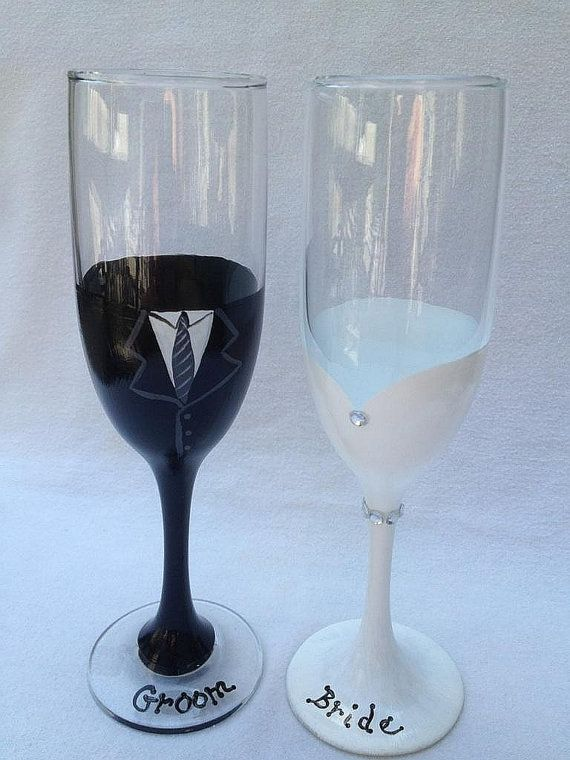Bride and Groom champagne flutes, 8 inches tall.  6.25 ounce