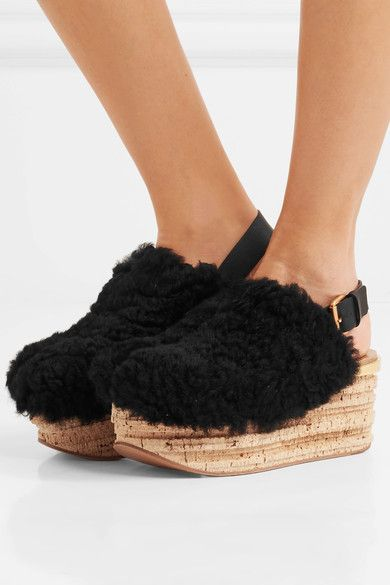 Camille Leather-trimmed Shearling Platform Slingback Sandals - Black Chlo upKoe09