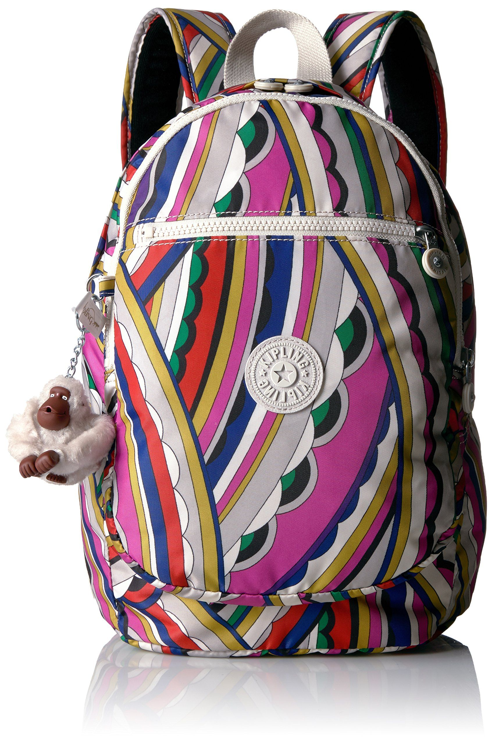 f14fe8656 Kipling Women's Challenger Printed Backpack, Bright Si De. Pockets: 1  interior slip,