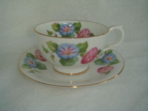 Clarence Bone China Cup and Saucer with Morning Glories, from England, Numbered