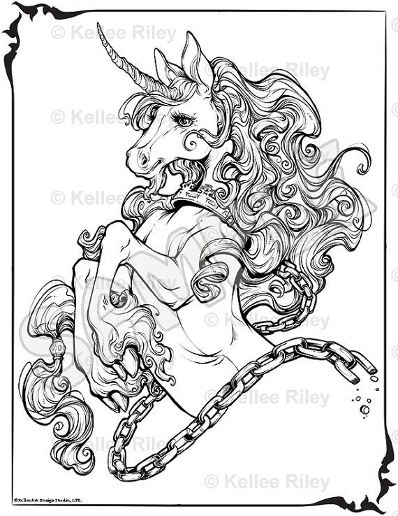 Unicorn Adult Coloring Pages by