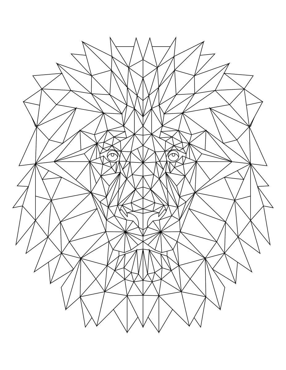 Imprimer coloriage lion triangle lion coloriage et stress - Coloriages lion ...