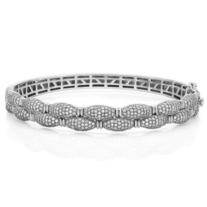 Sterling Silver Bracelet With Simulated Diamonds By Swarovski Man Made