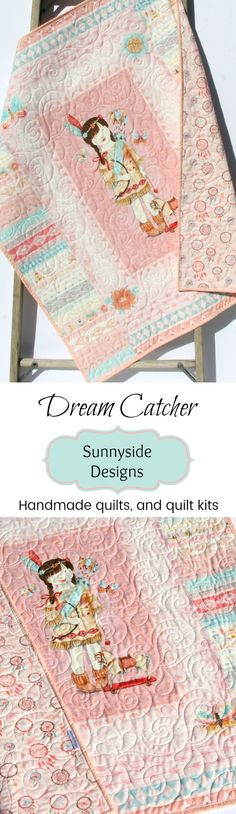 Dream Catcher Handmade Quilt, Tribal Nursery Baby Bedding, Crib Blanket, Baby Quilt Kit, Feathers Coral Pink Aqua Blue Indian Girl Arrows Feathers, DIY Sewing Project, Beginner Quilt Kit by Sunnyside Designs