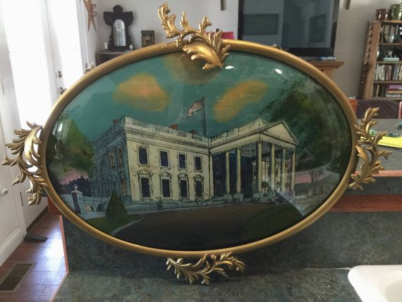 Reversed Painting Of The White House 1917 Chicago Portrait Company Oval Convex Glass Ornate Frame Reverse Painted Ornate Frame Painting