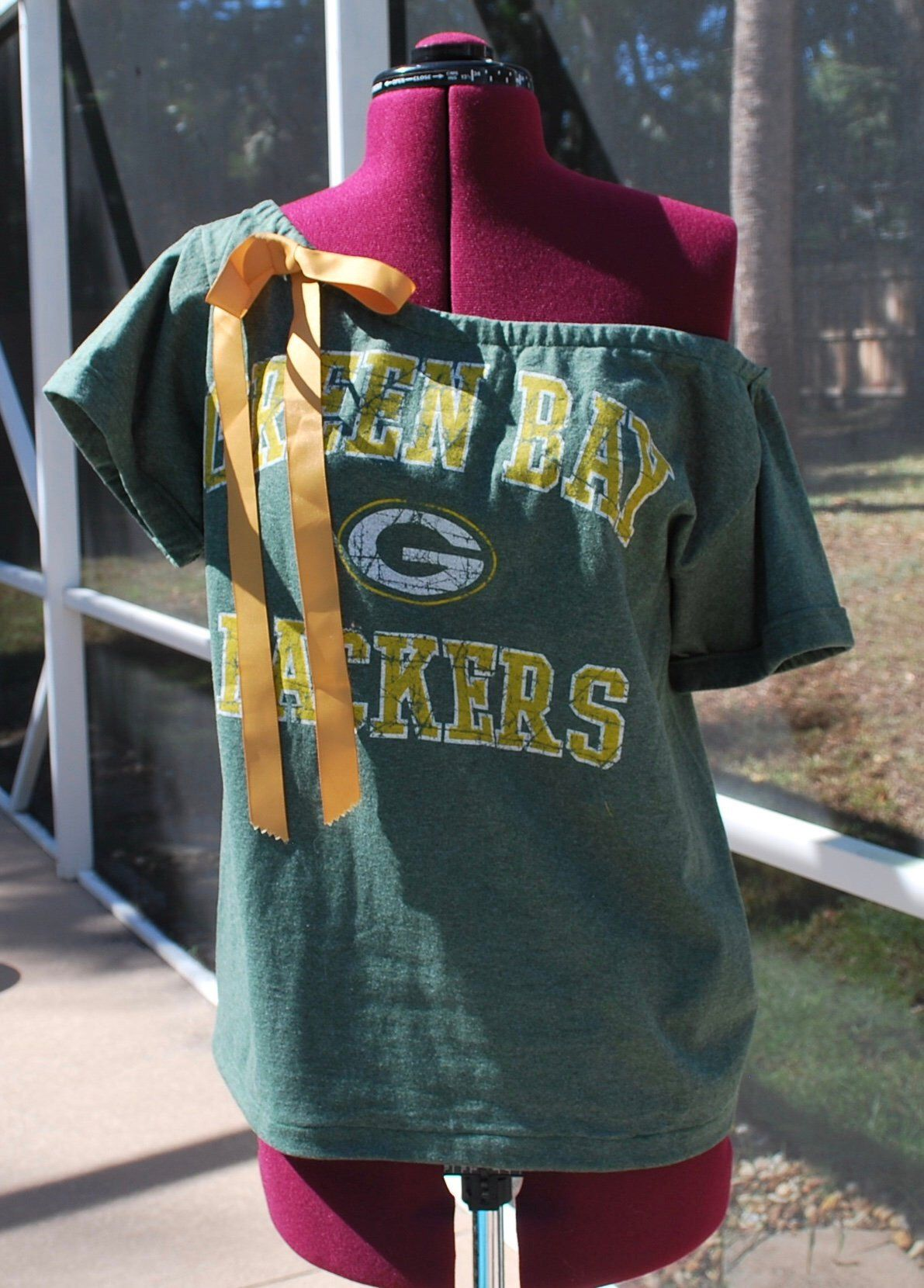 Green Bay Packers Upcycled Off Shoulder, One Shoulder Size ML! Bow
