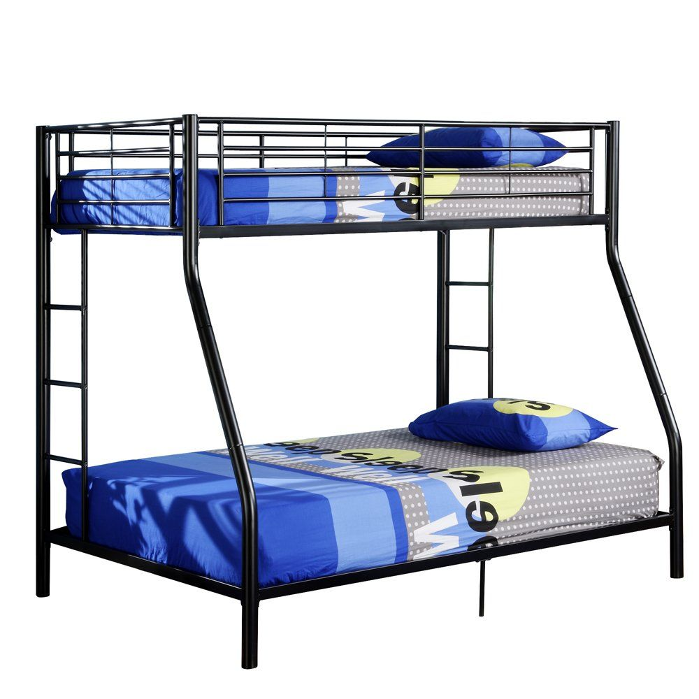 Tuffing loft bed ideas  Walker Edison TwinOverFull Bunk Bed Black  Ollieus Room  Pinterest