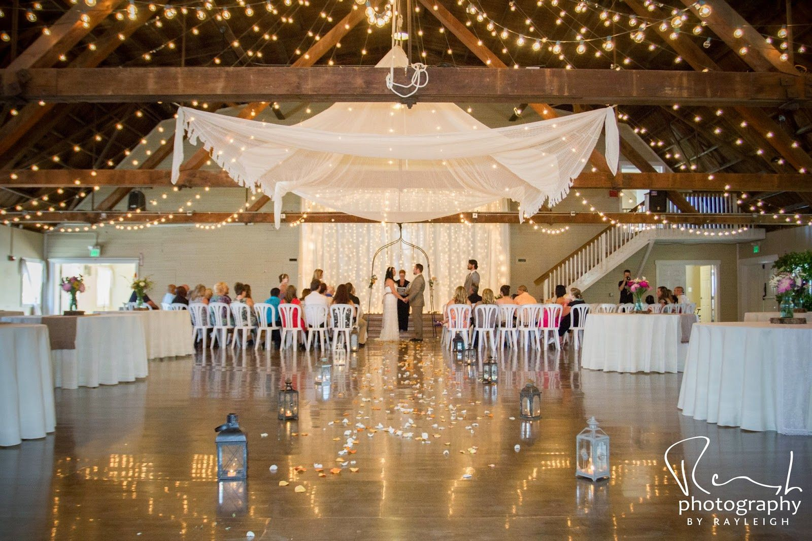 Twinkle lights with lace canopy rustic barn wedding 10 mins from Salem, OR small wedding