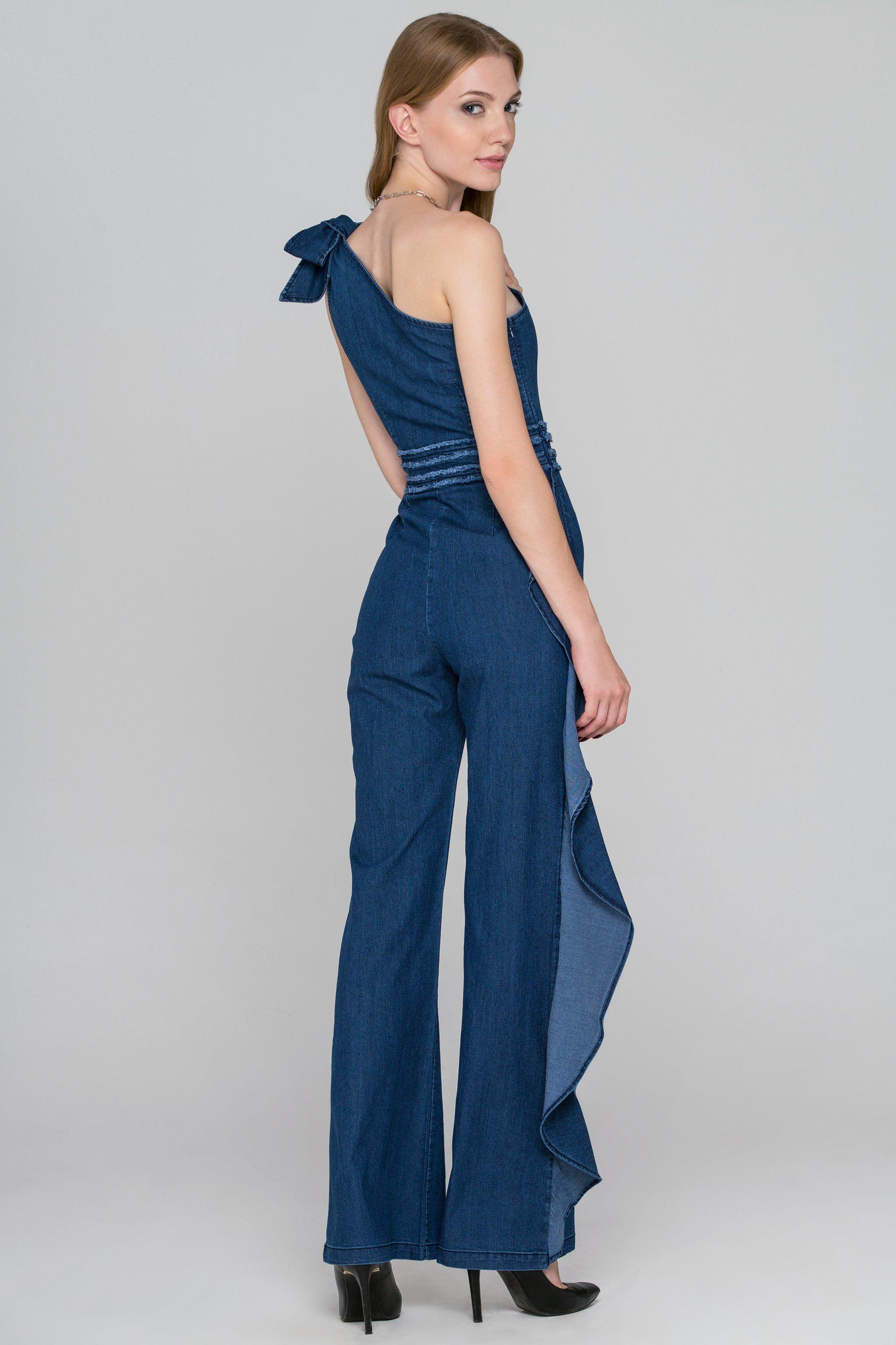 f57435a55696 One Shoulder Ruffled Leg Denim Jumpsuit - (Price   120.00)  fashionstyle   fashionweek  fashionable  stores  style  shopping  dressesonline  dress   womens ...