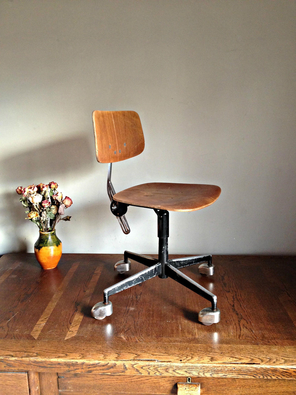 Vintage office chair, Wooden seat metal chair Adjustable