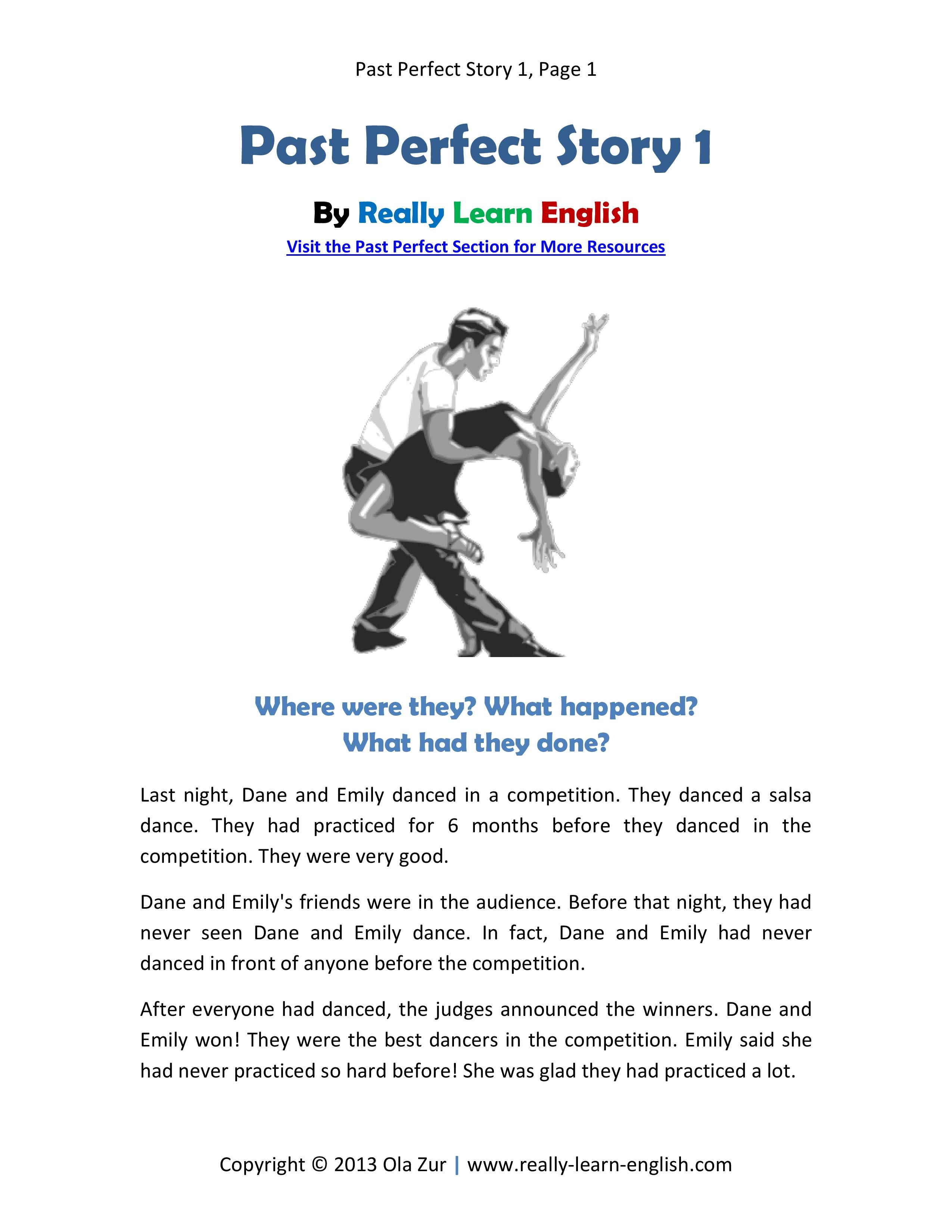 Free Printable Story And Exercises For The English Past Perfect Tense Just Click The Link And Download The Pdf Fil Learn English Perfect Tense English Reading