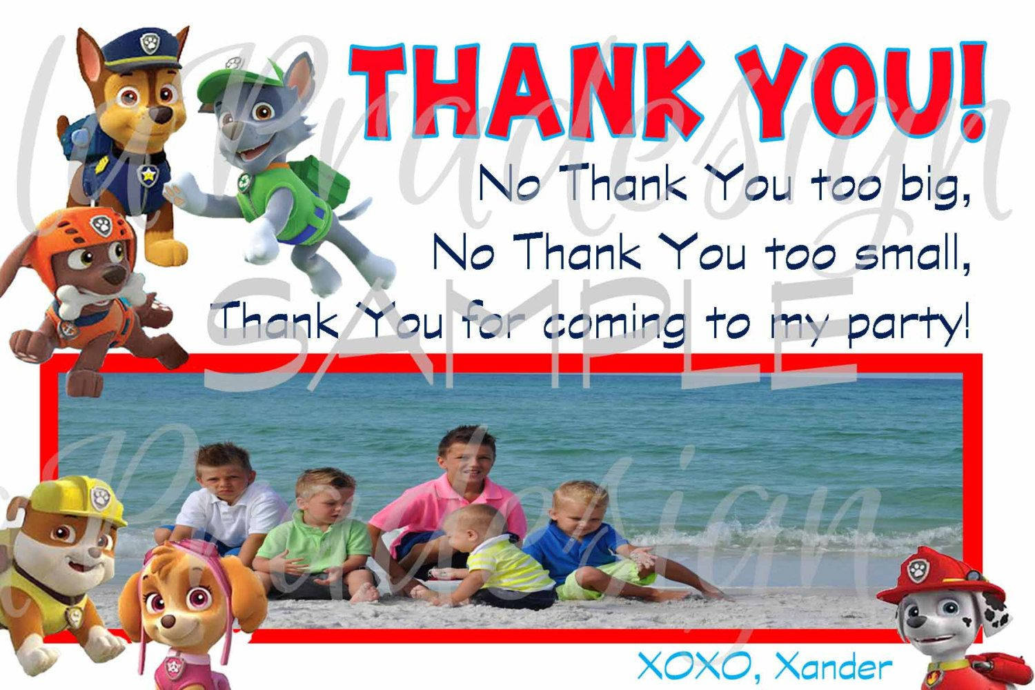 Paw Patrol Birthday Thank You Card With Picture A By Lapradesign