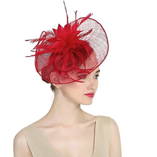 HipStone Women Hair Accessories Cocktail Fashion Feather Sinamay Fascinator  Hat Headwear red 809bf45f16b6