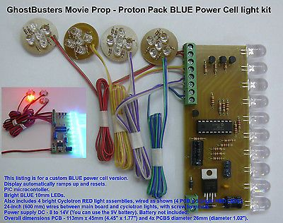 Ghost Busters Movie Prop Proton Pack Power Cell light kit 10mm BLUE LEDs
