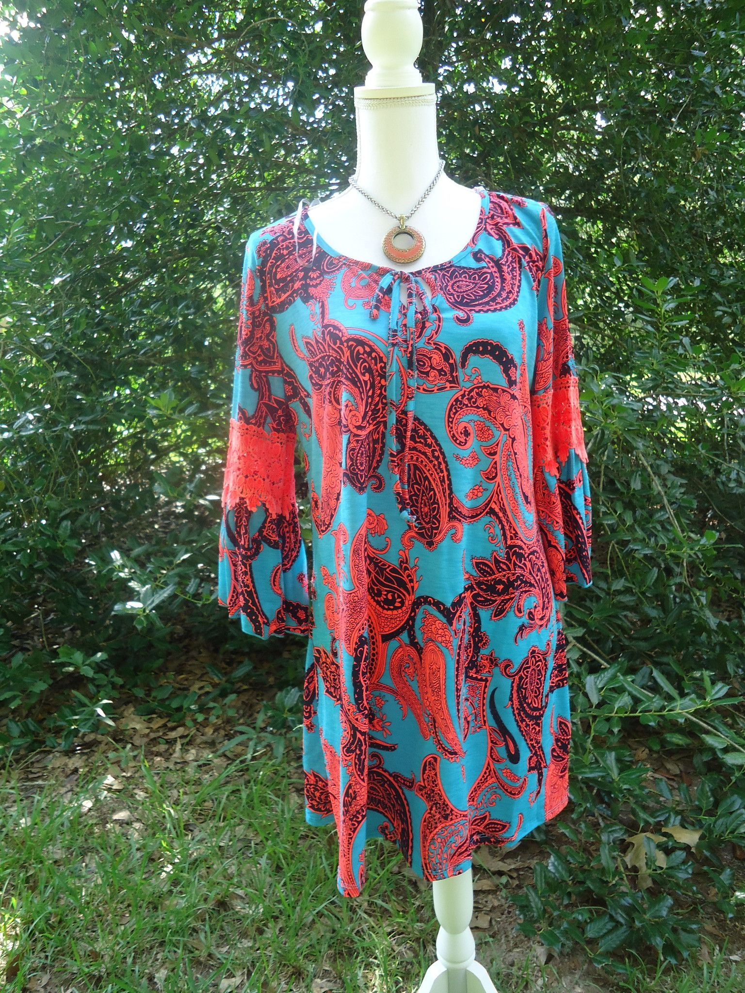 Honeyme 2B Together Valerie 993 Lace Coral Turquoise Tunic Dress S ...
