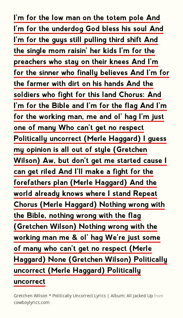 Lyrics Politically Uncorrect By Gretchen Wilson Merle Haggard